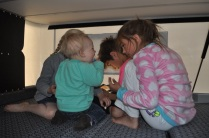 Kids in the camper (Aubrey, Alice, Maria, and Jamie)