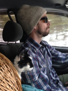 a man and his cat, on the road again