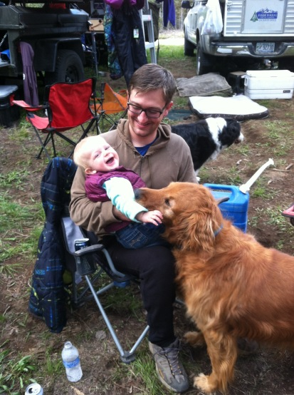 John holds Alice, Scout just wants some love.