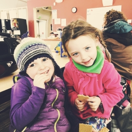 Alice and Olivia taking a snack break