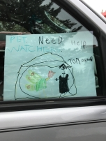 Driving around town with need help signs, help us!